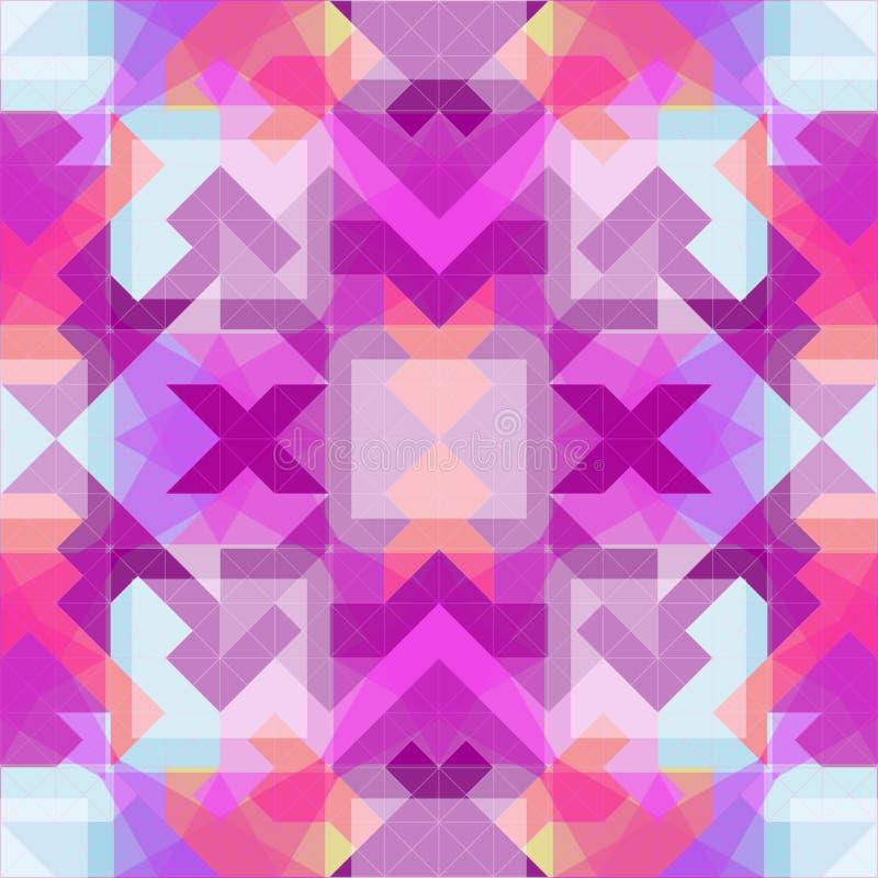 PIXEL stillar den abstrakta geometriska sömlösa modellen i rosa färger stock illustrationer