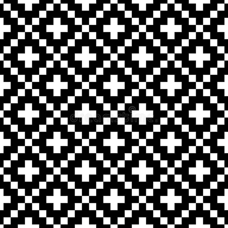 Pixel style vector seamless pattern. White black ornaments on white background. Nordic style fabric swatch.  stock illustration