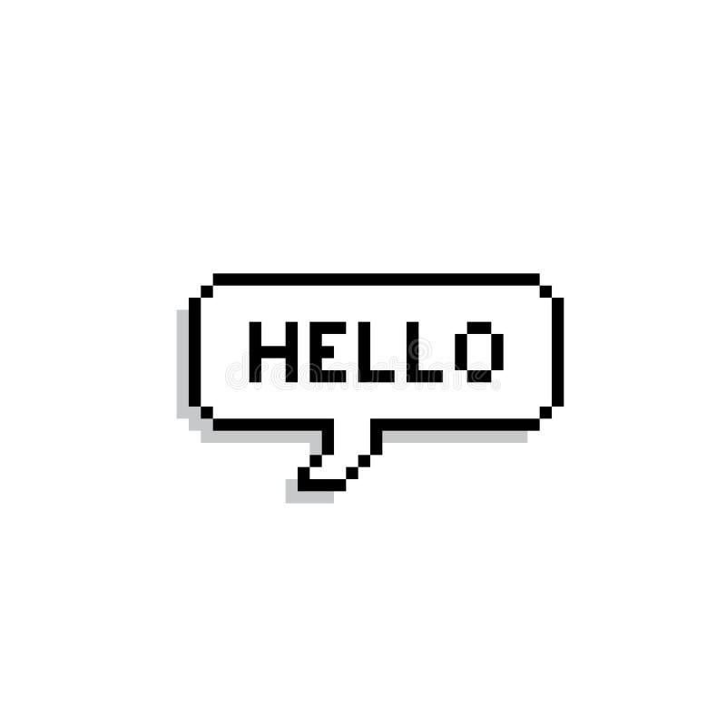 Pixel text bubble. Speech bubble icon stock illustration