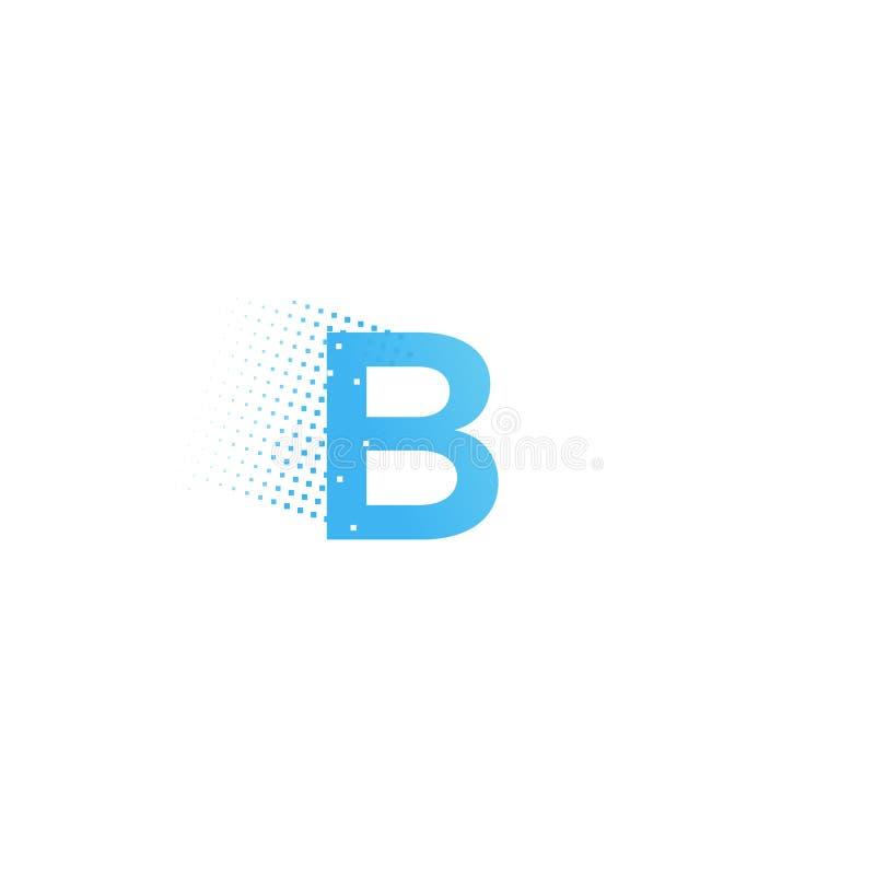 Pixel typography letter B logo. Technological modern font calligraphy. Logotype. Vector illustration stock illustration