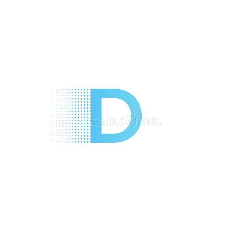 Pixel typography letter D logo. Technological modern font calligraphy. Logotype. Vector illustration royalty free illustration