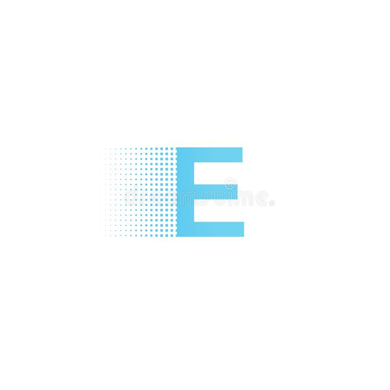 Pixel typography letter E logo. Technological modern font calligraphy. Logotype. Vector illustration stock illustration