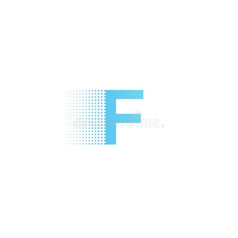 Pixel typography letter F logo. Technological modern font calligraphy. Logotype. Vector illustration royalty free illustration