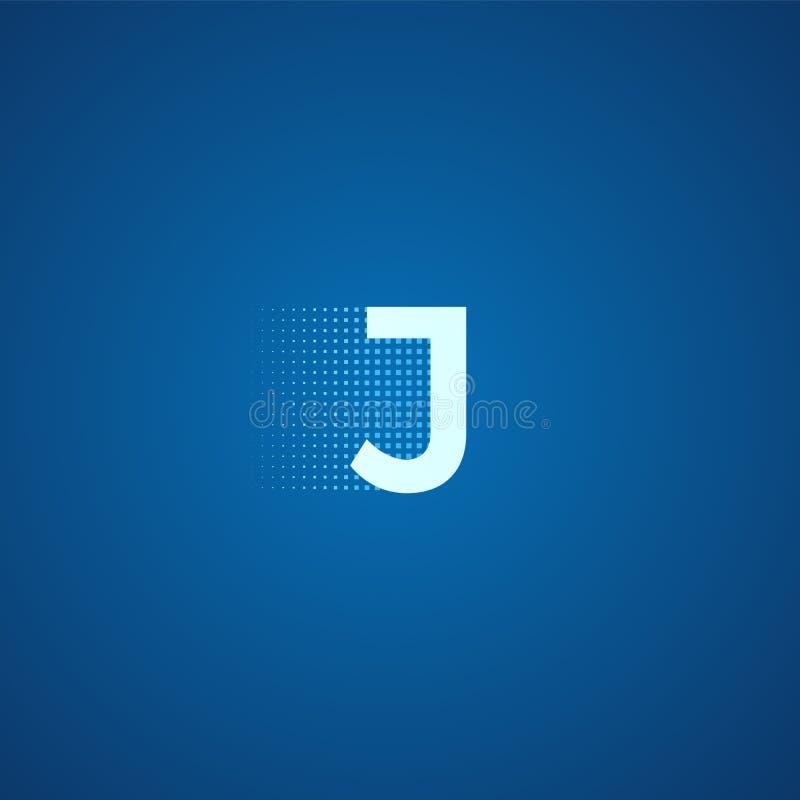 Pixel typography letter J logo. Technological modern font calligraphy. Logotype. Vector illustration vector illustration