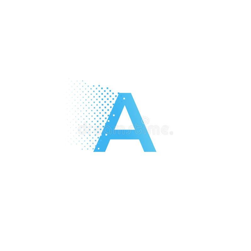 Pixel typography letter A logo. Technological modern font calligraphy. Logotype. Vector illustration stock illustration