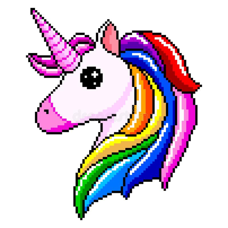 Pixel Unicorn Head Isolated Vector Stock Vector