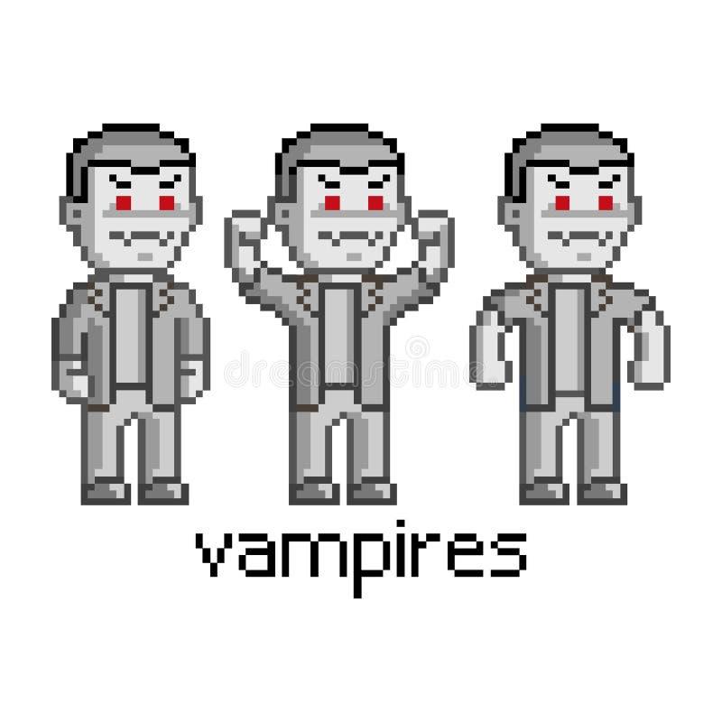 Pixel vastgestelde vampieren royalty-vrije illustratie