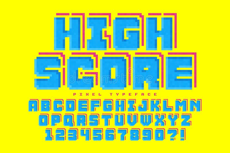 Pixel vector font design, stylized like in 8-bit games stock illustration