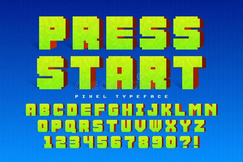 Pixel vector font design, stylized like in 8-bit games. royalty free illustration