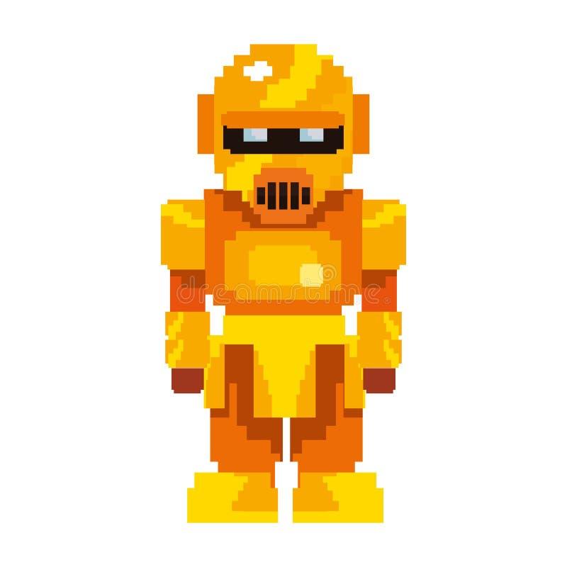Pixel video game gold robot royalty free illustration