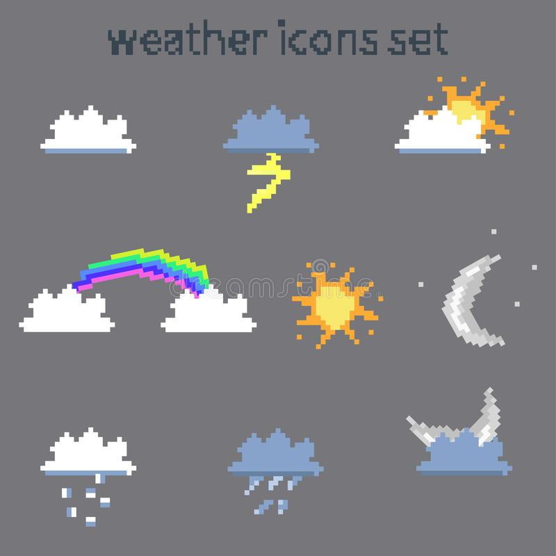 Pixel weather icons set on gray background vector image royalty free illustration