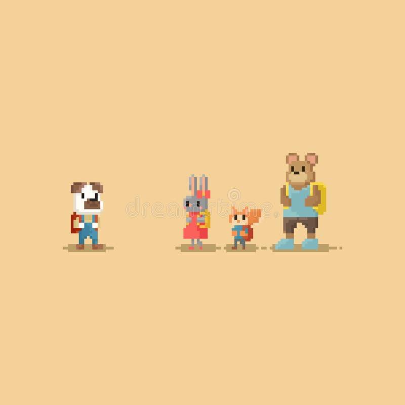 Pixel weinig dierlijke student Terug naar School karakter met 8 bits stock illustratie