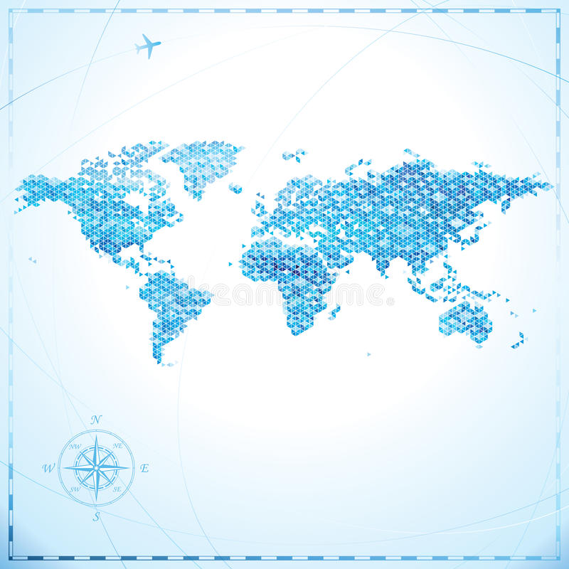 Pixel World map. Geometric pixel shape World map background royalty free illustration