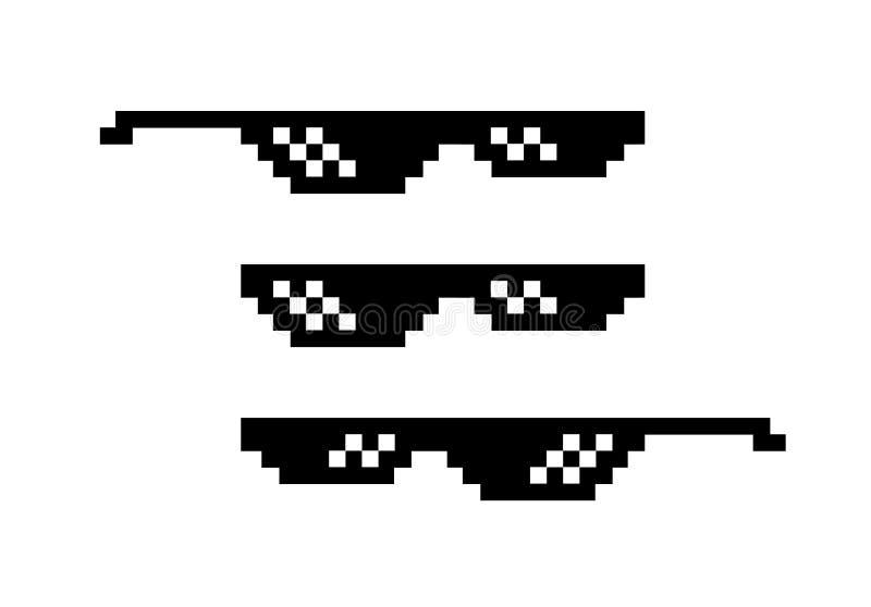 Pixel zwarte zonnebril met 8 bits Bril voor gangster en misdadiger, slechte kerel Internet meme Toebehoren voor hark en karikatuu vector illustratie