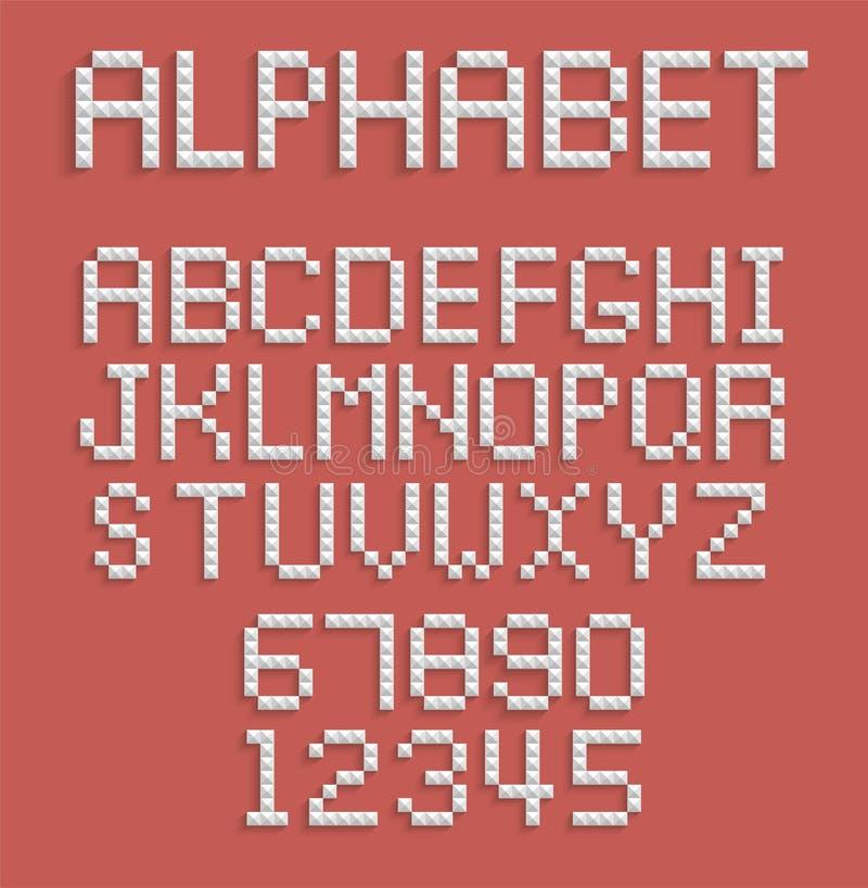 Pixelalfabet van getallen en letters vector illustratie