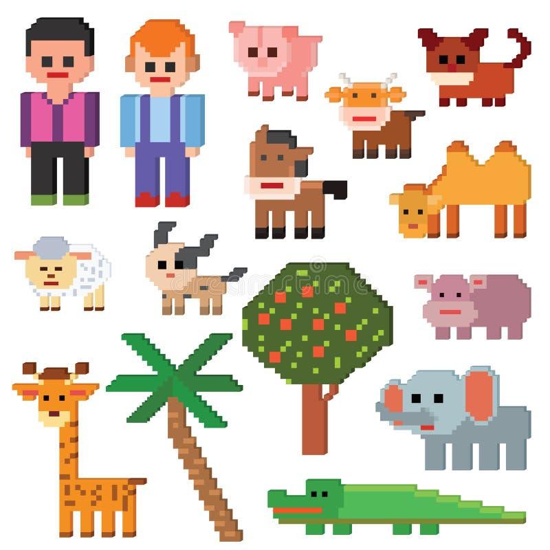 Pixelart d'animal de ferme de vecteur de caractère de pixel et signes agricoles animalistic de bande dessinée pour l'illustration illustration stock