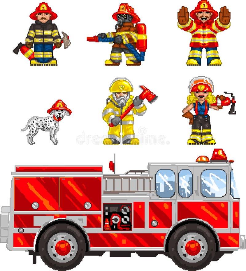 PixelArt: Sapadores-bombeiros ilustração do vetor