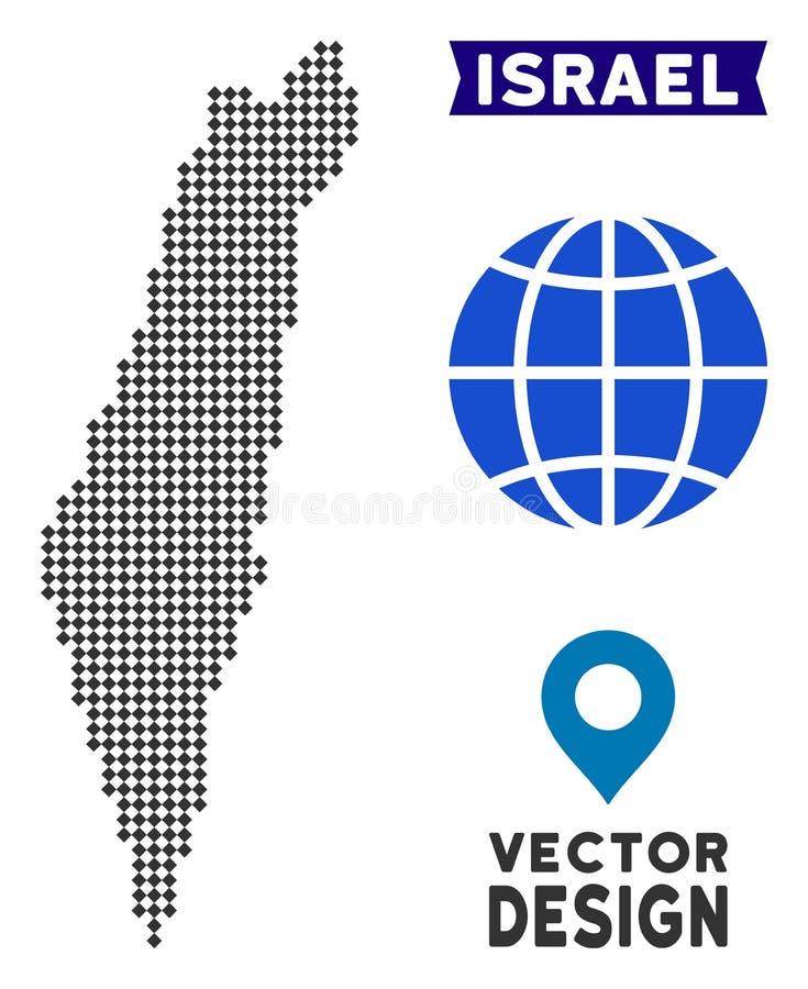 Pixelated以色列地图 皇族释放例证