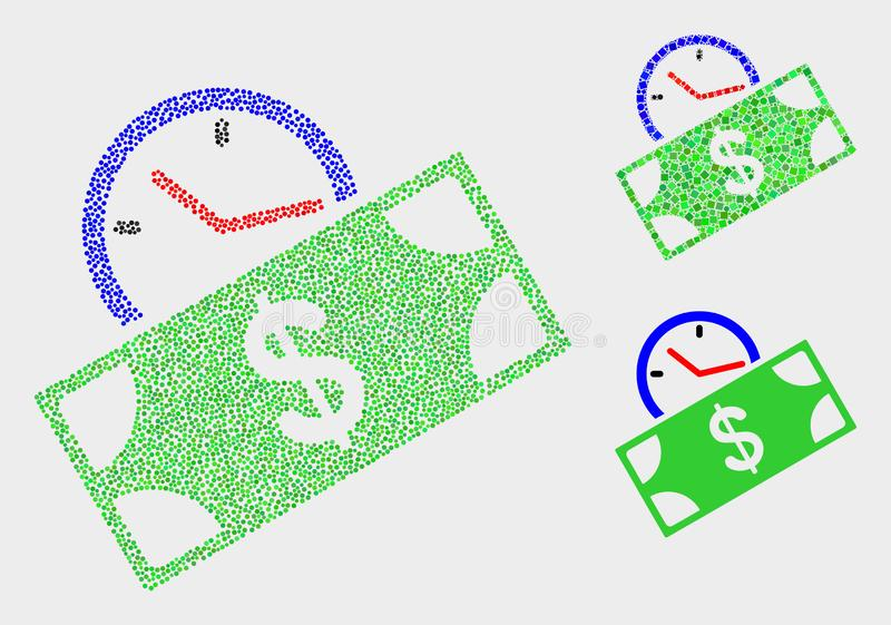 Pixelated传染媒介钞票信用时间象 皇族释放例证