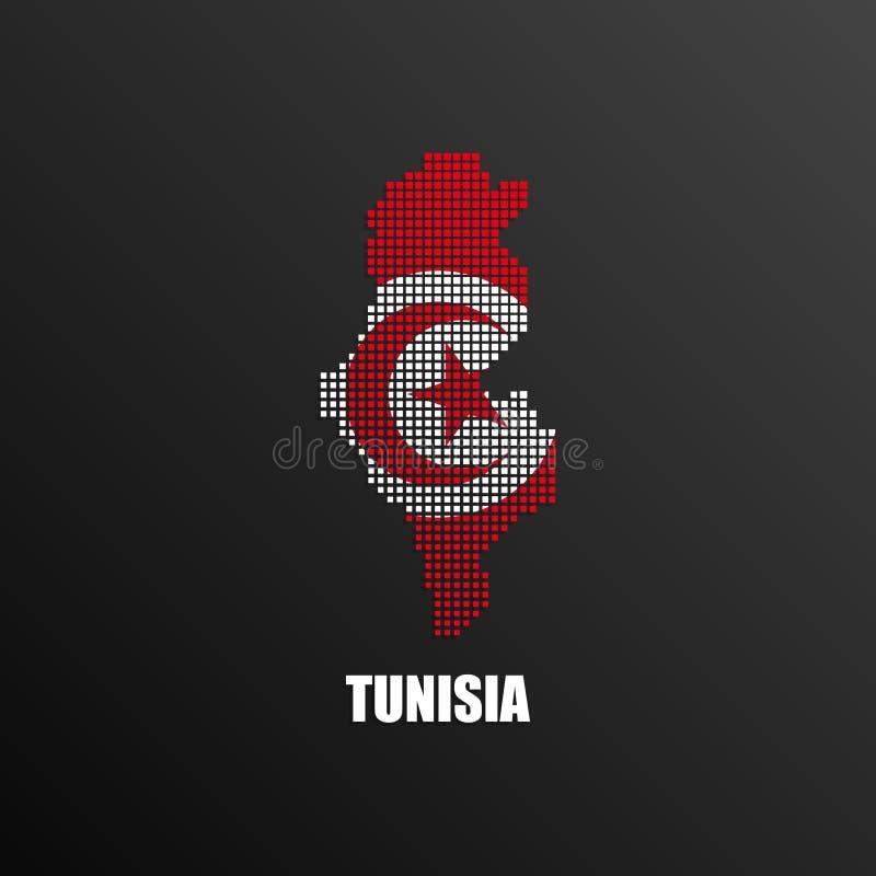 Pixelated översikt av Tunisien med nationsflaggan stock illustrationer