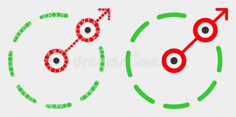 Pixelated και επίπεδο διανυσματικό ακτινωτό εικονίδιο συνόρων διαφυγών διανυσματική απεικόνιση