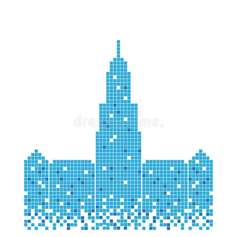 Pixelated błękitny budynek mekki wierza ilustracyjny projekt royalty ilustracja