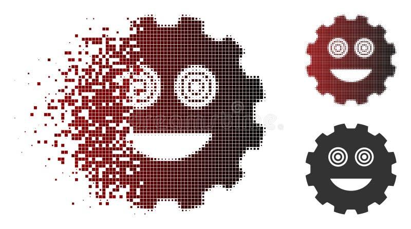 Pixelated de desintegración Smiley Gear Icon enojado de semitono ilustración del vector