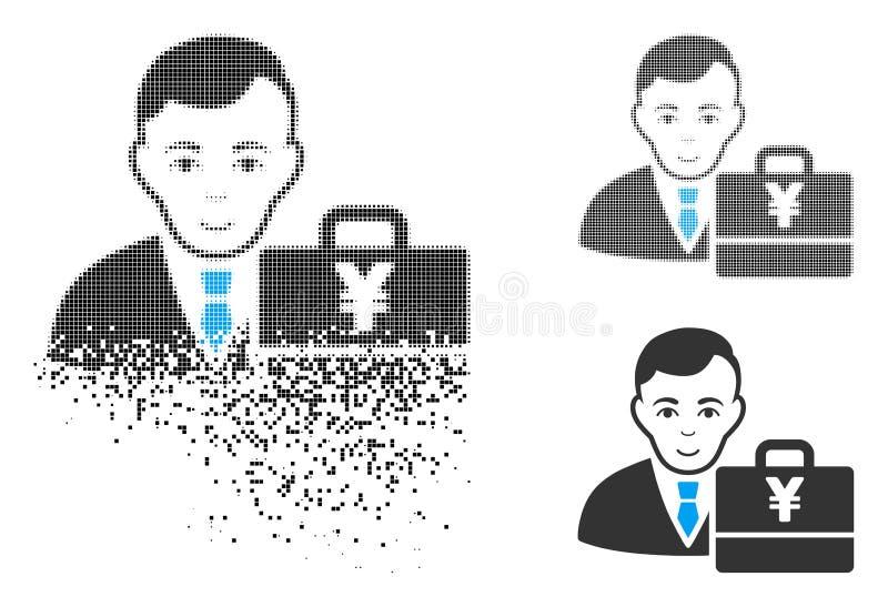 Pixelated descompuesto Yen Accounter Icon de semitono con la cara libre illustration