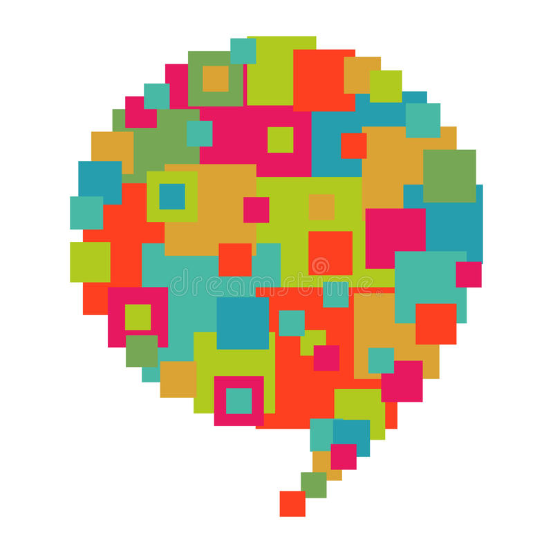 Pixelated diversity speech bubble. Pixel abstract art in social speech bubble shape. Vector file layered for easy manipulation and custom coloring royalty free illustration