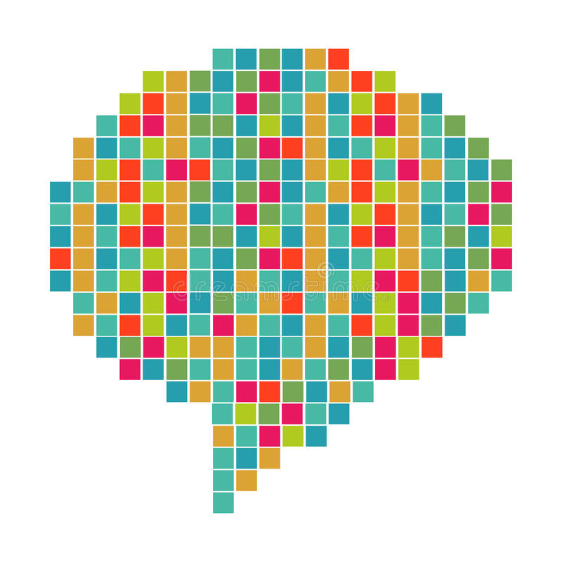 Pixelated diversity speech bubble. Abstract pixel art in social speech bubble shape. Vector file layered for easy manipulation and custom coloring vector illustration