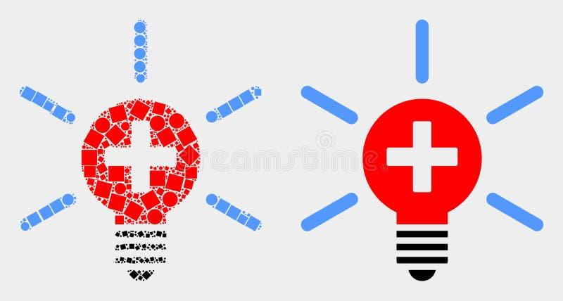 Pixelated e icono médico de la luz de la lámpara del vector plano stock de ilustración