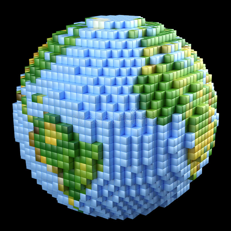 Pixelated Earth concept royalty free illustration