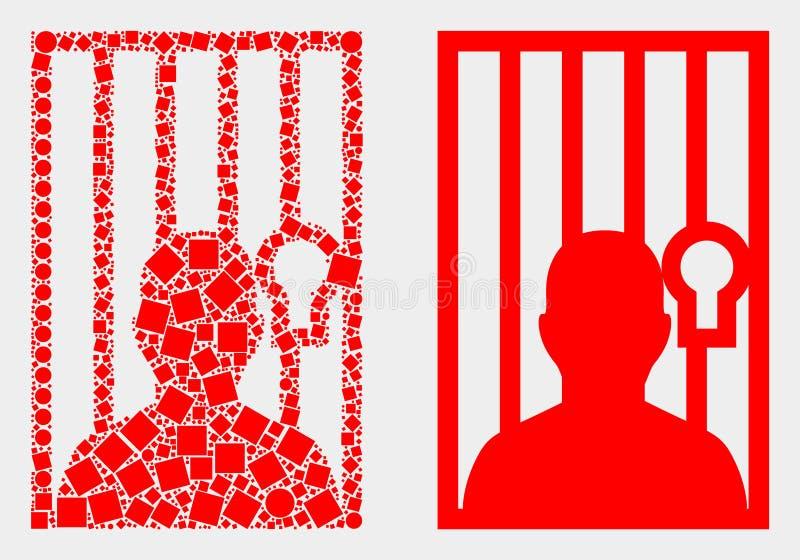 Pixelated ed icona della persona imprigionata vettore piano illustrazione vettoriale