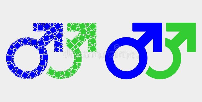 Pixelated ed icona gay di simbolo di paia di vettore piano royalty illustrazione gratis