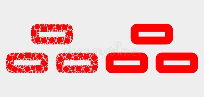 Pixelated ed icona piana dei mattoni di vettore illustrazione di stock