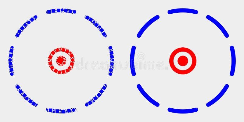 Pixelated ed icona rotonda di perimetro di vettore piano royalty illustrazione gratis