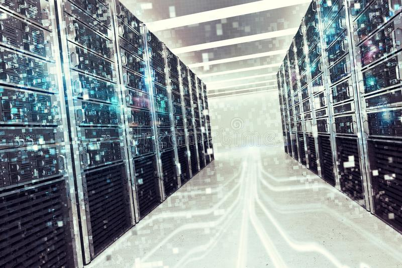 Pixelated effect of an image of a room of virtual database. 3D Rendering stock image