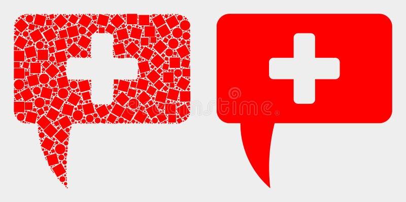 Pixelated et icône médicale de signe de message de vecteur plat illustration de vecteur