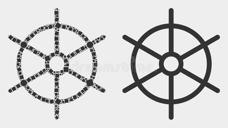 Pixelated et icône plate de roue de règle de bateau de vecteur illustration stock