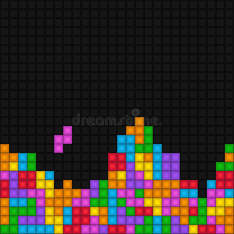 Free Pixelated Game Tetris Pattern Royalty Free Stock Photography - 70259857