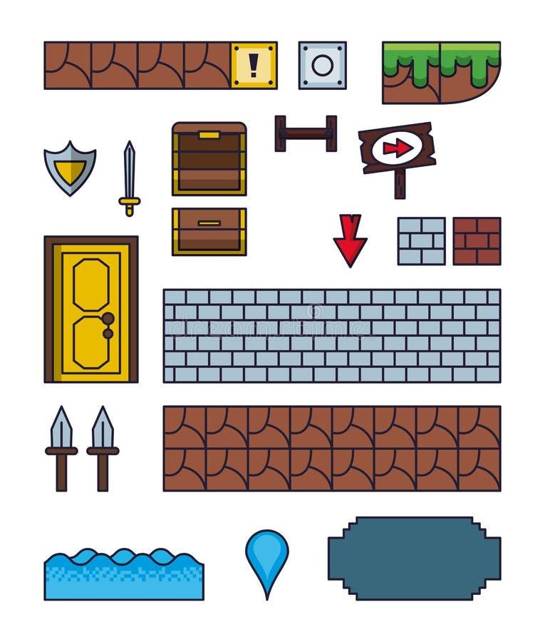 Pixelated gry ikony royalty ilustracja