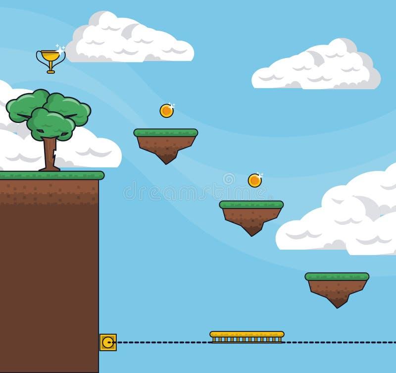 Pixelated gry sceneria ilustracji