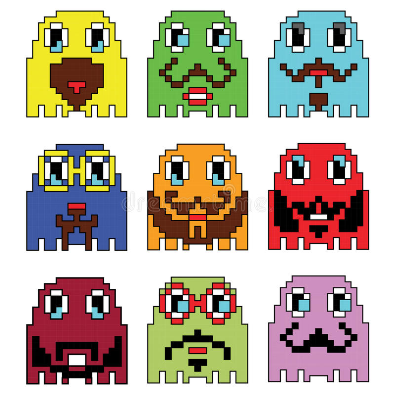 Pixelated Hipster emoticons inspired by 90's vintage video computer games showing vary emotions with stroke stock illustration