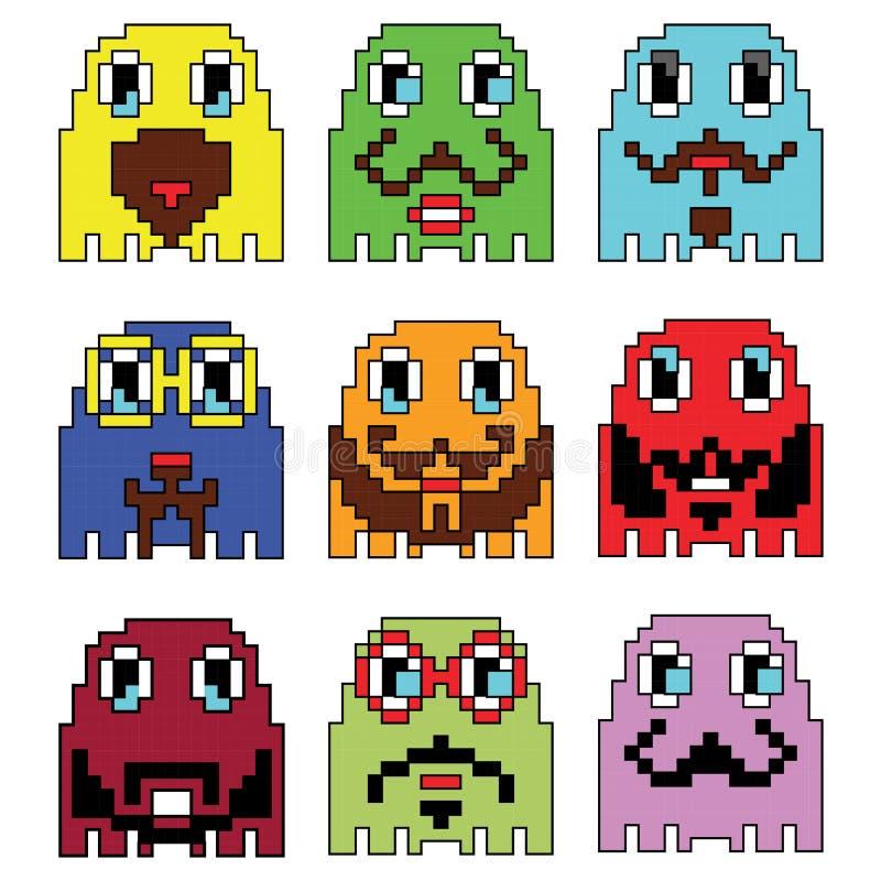Pixelated Hipsteremoticons som inspireras av visningen för dataspelar för 90-taltappning den videopd, varierar sinnesrörelser med stock illustrationer