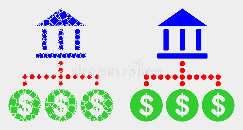 Pixelated i Płaska Wektorowa bank hierarchii ikona ilustracji