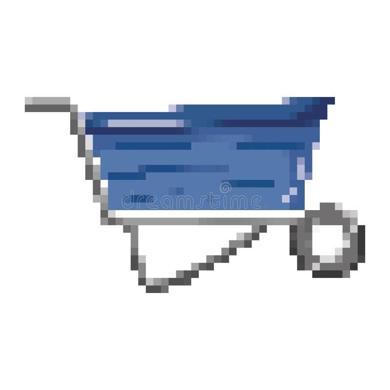 Pixelated industrial wheelbarrow transport equipment service stock illustration