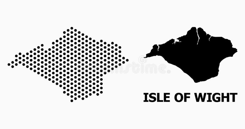 Dotted Mosaic Map of Isle of Wight. Pixelated map of Isle of Wight composition and solid illustration. Vector map of Isle of Wight composition of spheric pixels royalty free illustration
