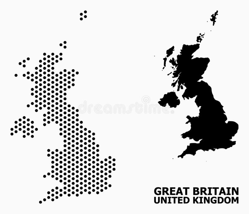 Dotted Pattern Map of United Kingdom. Pixelated map of United Kingdom composition and solid illustration. Vector map of United Kingdom composition of circle dots royalty free illustration