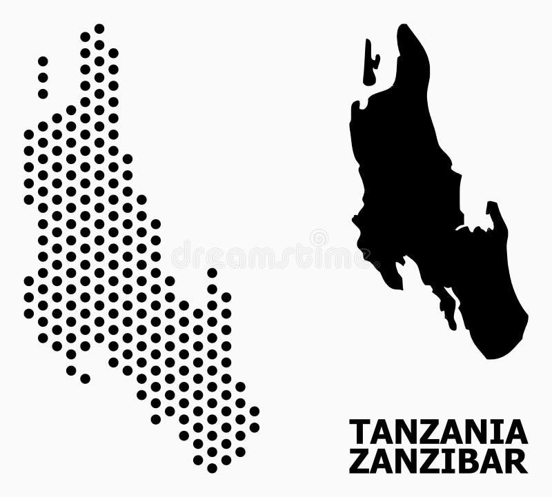 Pixelated modellöversikt av den Zanzibar ön arkivfoton