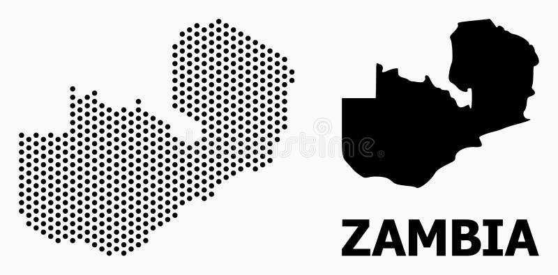 Pixelated mosaisk översikt av Zambia fotografering för bildbyråer